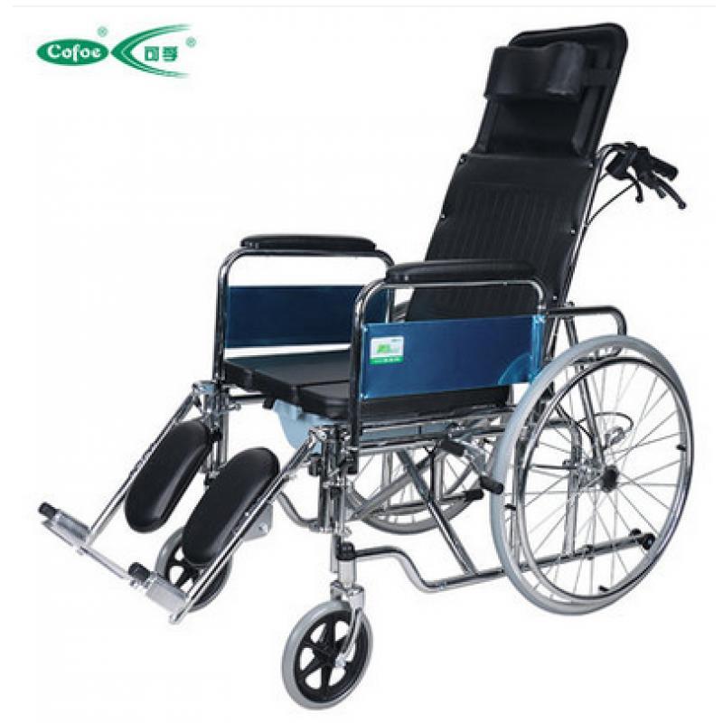可孚新款逸臻功能轮椅_折叠轻便带坐便老人轮椅