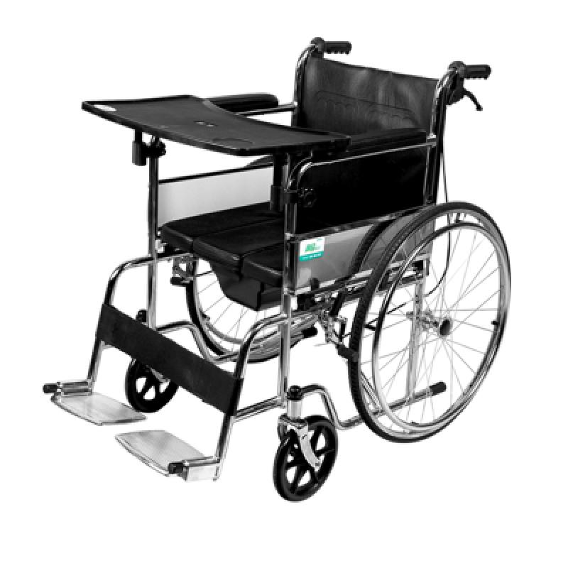 可孚逸稳多功能轮椅_不锈钢钢管带坐便铝合金带餐桌