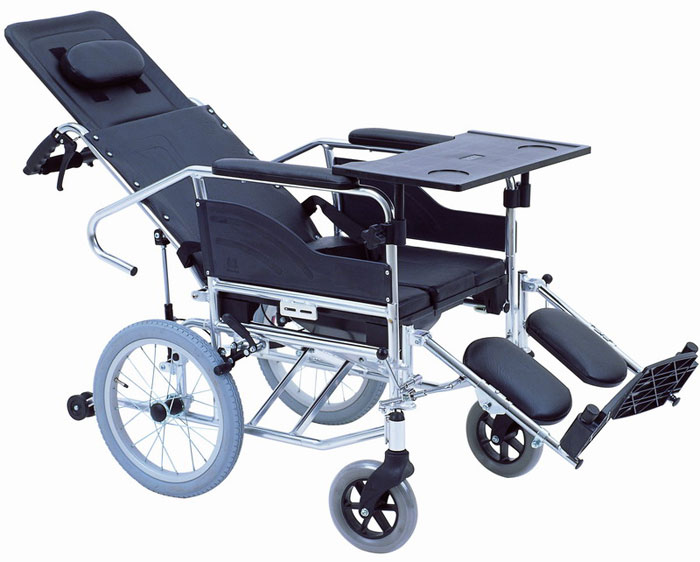 互邦HBL10-BFQ16轮椅 高靠背可全倾 带防倾轮 带便桶