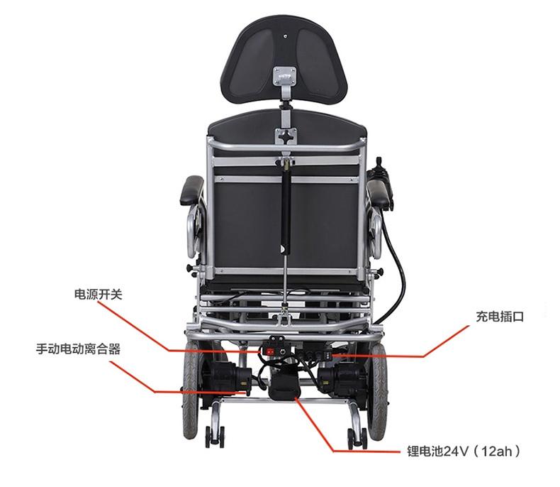 互邦电动轮椅HBLD1-D 全躺折叠带马桶护理型老人代步铅酸
