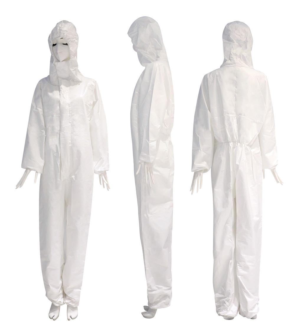 佰意 连体隔离衣白色 /带帽连体防护服/手术衣/医用连体全身男女通用
