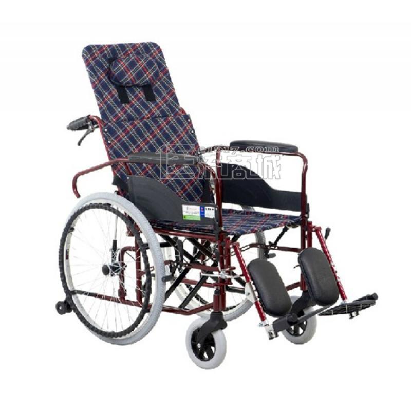 互邦HBL5-FQ轮椅 高靠背可全躺 带防倾轮