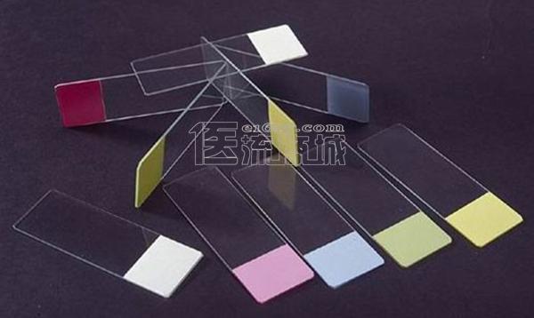 国产7109彩色蒙砂磨砂边载玻片 50片/盒 国产低价盖玻片